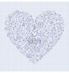 I love the sea heart vector image vector image
