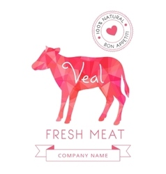 Image meat symbol veal silhouettes of animal for vector