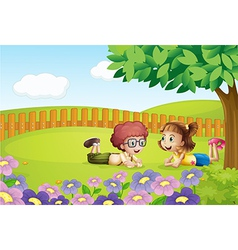 Kids in nature vector image vector image