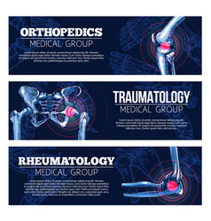 medical banners orhtopedics traumatology vector image vector image