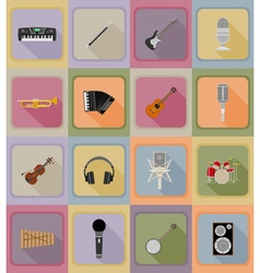 music items and equipment flat icons 20 vector image vector image