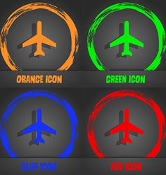 Plane icon Fashionable modern style In the orange vector image vector image