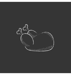 Raw chicken Drawn in chalk icon vector image