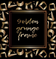 round grunge golden frame on checkered background vector image vector image