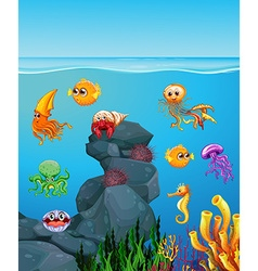 Sea animals swimming under the sea vector