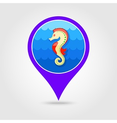Sea Horse pin map icon Summer Vacation vector image