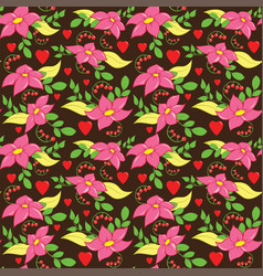 seamless love flower pattern vector image