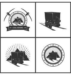 Set of Emblem Coal Mining Industry vector image vector image