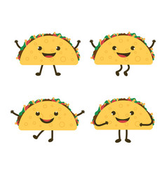 set with cartoon tacos vector image