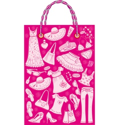 shoping bag with woman summer clothes and accessor vector image vector image