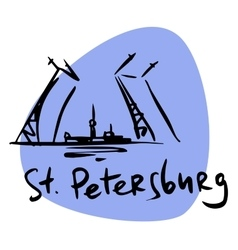 St petersburg russia drawbridge neva vector