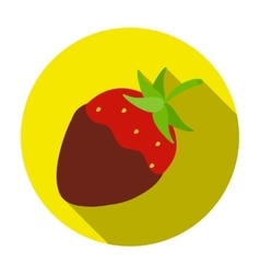Strawberry in chocolate icon in flat style vector image