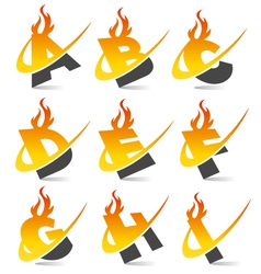 Swoosh flame alphabet logo set 1 vector