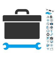 Toolbox icon with copter tools bonus vector