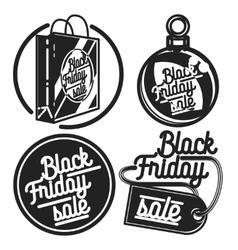 Vintage black friday sale emblems vector image