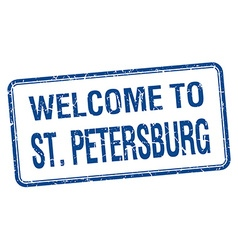 Welcome to st petersburg blue grunge square stamp vector