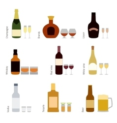 Set of alcohol bottles with glasses vector