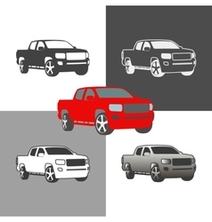 Car pickup truck vehicle silhouette icons colored vector