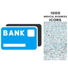 Bank cards icon with 1000 medical business icons vector