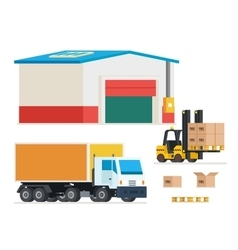 Cargo transportation loading and unloading trucks vector