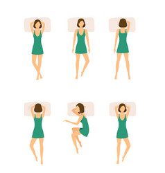 Different sleeping poses girl set vector