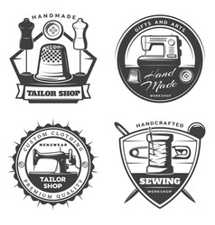 monochrome tailor emblems set vector image