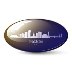 stockholm skyline 3d icon vector image