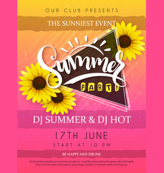 Summer party poster with vector
