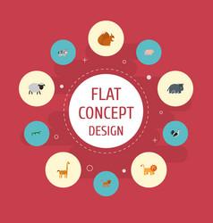 Flat icons hippopotamus kine swine and other vector
