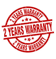 2 years warranty round red grunge stamp vector