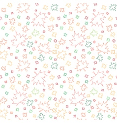 Seamless pattern with outlines of autumn leaves vector