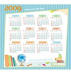 2009 colorful educational calendar vector image