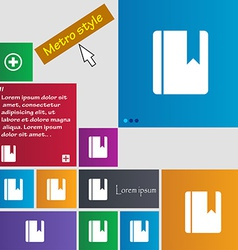 Book bookmark icon sign metro style buttons modern vector