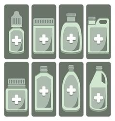 Set of cute medicine bottle vector