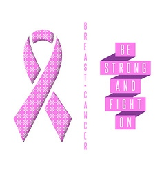 Breast cancer poster pink ribbon and text slogan vector