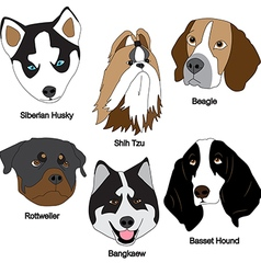Dog face set vector