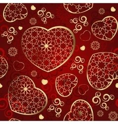 Seamless wallpaper with gold hearts on a red vector