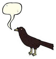 cartoon crow with speech bubble vector image