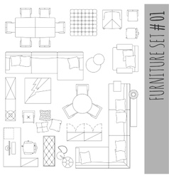 Standard furniture symbols used in architecture vector