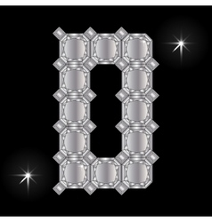 Metal letter d gemstone geometric shapes vector