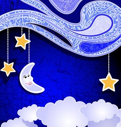 Cute cut outs of a smiling moon and stars vector