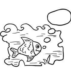 Black and white fish in water vector