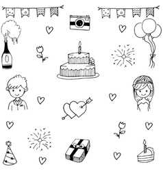 Set wedding party in doodle hand draw vector