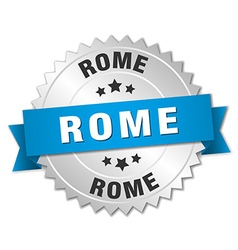 Rome round silver badge with blue ribbon vector