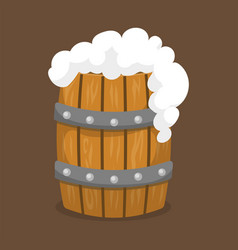 Alcohol beer barrel with white foam vector