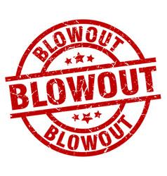 Blowout round red grunge stamp vector