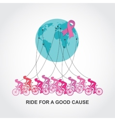 cancer awareness cycling race or competition vector image vector image