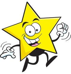 Cartoon star running vector image vector image