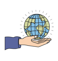 Colorful silhouette hand palm giving a earth globe vector