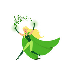 Cute eco superhero girl with super strength vector